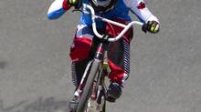 Canadian Olympic BMX cyclist Tory Nyhaug is seen during a training session in Abbotsford, B.C. Wednesday, July, 11, 2012. (JONATHAN HAYWARD/THE CANADIAN PRESS)