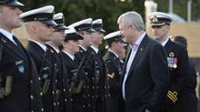 Prime Minister Stephen Harper visits HMCS Fredericton in Gdansk, Poland, Tuesday, June 9, 2015. Canadian Armed Forces personnel will be stationed at a NATO command centre in Poland as a defence against Russian aggression. (Adrian Wyld/THE CANADIAN PRESS)