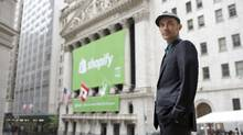 Shopify chief executive officer Tobi Lutke is seen outside the New York Stock Exchange. (Michael Falco for The Globe and Mail)