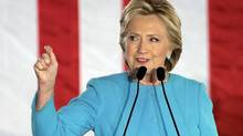 Democratic presidential candidate Hillary Clinton speaks during a campaign rally on Nov. 6, 2016, in Manchester, N.H. (STEVEN SENNE/ASSOCIATED PRESS)