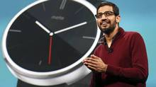 Sundar Pichai, Google's senior vice president of Android, Chrome and Apps, speaks about wearables during his keynote address at the Google I/O developers conference in San Francisco June 25, 2014. (Elijah Nouvelage/Reuters)