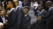 Minnesota Timberwolves' Andrew Wiggins smiles before his team plays the Toronto Raptors in their NBA basketball game in Toronto, March 18, 2015. (Mark Blinch/The Globe and Mail)