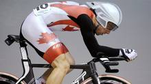 Canada's Zach Bell races in the individual pursuit event of the men's omnium at the Track Cycling World Championships in Melbourne, Australia, Friday. (Andrew Brownbill/Associated Press)