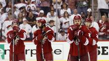 From left; Phoenix Coyotes right wing Mikkel Boedker, Day