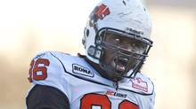 BC Lions defensive tackle Khalif Mitchell taunts the Saskatchewan Roughriders bench during the first quarter CFL football action at Mosaic Stadium on Sunday, October 16, 2011 in Regina. (The Canadian Press)