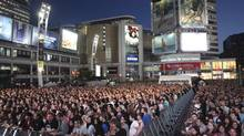 Last year's North by Northeast brought out huge crowds to Yonge-Dundas Square to see the National. (Phil Brennen /NXNE)