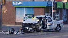 A RCMP vehicle is shown at the scene of a shooting in St. Paul, Alberta on Friday May 9. (Rhea Labrie/THE CANADIAN PRESS)