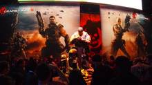 A statue of Marcus Fenix adorns the entrance to the Gears of War 3 pavilion at E3 in Los Angeles, June 08, 2011. (Chad Sapieha)