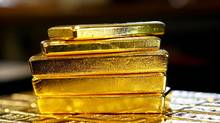 Gold bars are seen at the Austrian Gold and Silver Separating Plant 'Oegussa' in Vienna, Austria, March 18, 2016. (Leonhard Foeger/REUTERS)
