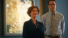 """This photo provided by The Weinstein Company shows, Helen Mirren, left, and Ryan Reynolds, in a scene from the film, """"Woman in Gold."""" (Robert Viglasky/The Associated Press)"""