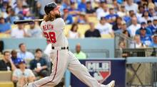 Jayson Werth hits a solo home run in the ninth inning of game three of the NLDS at Dodger Stadium on Monday, Oct. 10, 2016. (Harry How/Getty Images)