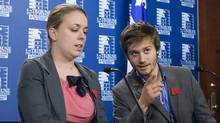 Leo Bureau Blouin (right) of the FEUQ, chats with student union leader Martine Desjardins before speaking to the media in Quebec City on May 18, 2012. (Clement Allard/THE CANADIAN PRESS)