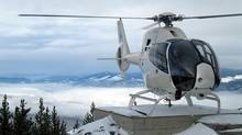 One of the School of Advanced Flight Training's Eurocopter EC120Bs near Penticton, B.C.