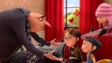 Gru, voiced by Steve Carell, struggles to raise his daughters Margo, voiced by Miranda Cosgrove, and Agnes, voiced by Elsie Fisher, in Despicable Me 2.