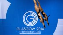 Canada's Meaghan Benfeito and Roseline Filion compete in the women's synchronized 10 metre platform event at Royal Commonwealth Pool in Commonwealth Games action in Edinburgh, Scotland on Wednesday, July 30, 2014. (Andrew Vaughan/THE CANADIAN PRESS)