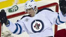 Winnipeg Jets' Blake Wheeler celebrates his goal past Montreal Canadiens goalie Carey Price during second period NHL hockey action Wednesday, January 4, 2012 in Montreal. THE CANADIAN PRESS/Paul Chiasson (Paul Chiasson/CP)