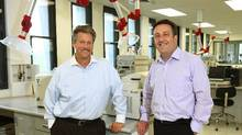 Ocean Nutrition marketing and sales head Jon Getzinger, left, and CEO Martin Jamieson in their company's research laboratory at in Dartmouth, N.S., Oct. 6, 2011. (Paul Darrow for the Globe an Mail/Paul Darrow for the Globe an Mail)