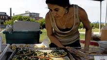 Vegan pizzas at the West End Food Co-op's Sorauren Farmers' Market are made entirely from market ingredients. (Michelle Siu/The Globe and Mail/Michelle Siu/The Globe and Mail)