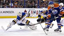 St. Louis Blues goalie Jake Allen is scored on by Edmonton Oilers' Mark Letestu during second period NHL action in Edmonton, Alta., on Wednesday March 16, 2016. (JASON FRANSON/THE CANADIAN PRESS)