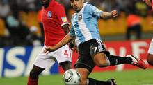 Argentina's Matias Laba during a U-20 World Cup group match in Medellin, Colombia, Aug. 1, 2011. (Luis Benavides/AP)
