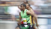 Jamaican sprinter Yohan Blake competes in the men's 100 metre event at the ISTAF athletics meeting in Berlin September 11, 2011. (TOBIAS SCHWARZ)