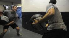 Michael Cammalleri, left, of the Montreal Canadians and Andrew Cogliano (Anaheim Ducks) working with medicine balls at the Biosteel training camp going at a Toronto area rink.