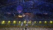 Confetti rains down at the end of the closing ceremony for the 2014 Sochi Winter Olympics, February 23, 2014. (PHIL NOBLE/REUTERS)