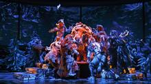 Much of the Stratford production of The Lion, the Witch and the Wardrobe's design emphasizes that this story originated as a book. (David Hou)