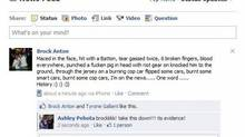 Brock Anton's update boasted of exploits police now say never took place. (Facebook)