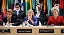 A picture taken on October 31, 2011 shows UNESCO managing director Irina Bokova of Bulgaria (C) flanked by the Executive Board President Eleonora Valentinovna Mitrofanova (L) of Russia and the 36th Session President Katalina Bogyay of Hungary (R) ruling the vote for Palestinians to enter UNESCO as a full member at the headquarters of the organization in Paris. (MIGUEL MEDINA/AFP/Getty Images/MIGUEL MEDINA/AFP/Getty Images)