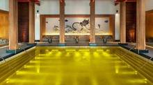 Luxuriate in a gold-tiled pool at the St. Regis Lhasa spa in Tibet.