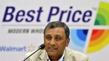 Raj Jain, president of Wal-Mart India, addresses the media at the opening of a Bharti Wal-Mart Best Price Modern wholesale store in Hyderabad Sept. 26, 2012. (KRISHNENDU HALDER/REUTERS)