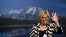 Alberta premier-elect Rachel Notley waves as she speaks the media during a press conference in Edmonton on Wednesday, May 6, 2015. (Nathan Denette/THE CANADIAN PRESS)