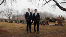 Eric Vandermeersch, CEO, and Dominic Mazzone, chairman, of Basic Funerals and Cremation Choices, are seen in the cemetery at St. John's Dixie Cemetery and Crematorium in Mississauga on March 21, 2011. (JENNIFER ROBERTS/JENNIFER ROBERTS FOR THE GLOBE AND MAIL)