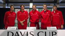 From left to right, Canada's Frank Dancevic, Milos Raonic, Daniel Nestor, Vasek Pospisil and coach Martin Laurendeau are looking to upset the odds this weekend in Vancouver when they take on Spain in Davis Cup play. (JONATHAN HAYWARD/THE CANADIAN PRESS)