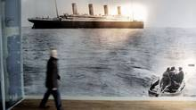 The last photo of the Titanic, taken off the coast of Cork in Ireland, on display in the new Titanic Belfast Visitor's Centre. The famed Harland and Wolff shipyard, builder of the mighty ship, is making the transition to producing green energy equipment. (Peter Morrison/Associated Press/Peter Morrison/Associated Press)