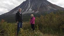 Canadian Prime Minister Stephen Harper and his wife Laureen take in the scenery as they stand on the ground where a new national park will be located in Moose Pond, North West Territories, August 21, 2012. (Adrian Wyld/REUTERS)
