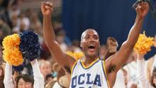 In this April 3, 1995 photo, UCLA's Ed O'Bannon celebrates after his team won the championship NCAA game against Arkansas in Seattle. (Eric Draper/The Associated Press)