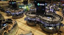 The floor of the New York Stock Exchange is empty of traders, Monday, Oct. 29, 2012, as Hurricane Sandy was nearing the U.S. East Coast. (Richard Drew/The Associated Press)
