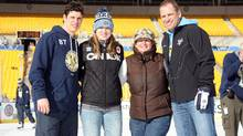 Sidney Crosby #87 of the Pittsburgh Penguins poses for a photo with his father Troy, mother Trina and sister Taylor during a family skate following practice for the 2011 NHL Bridgestone Winter Classic at Heinz Field on December 31, 2010 in Pittsburgh, Pennsylvania. (Dave Sandford/NHLI via Getty Images)
