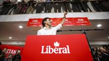Prime Minister Justin Trudeau waves at a campaign event for Liberal party byelection candidate Stan Sakamoto in Medicine Hat, Alta., this week. (Jeff McIntosh/The Canadian Press)