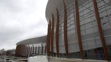 View of the Carioca Arenas at the Olympic Park for the 2016 Olympics in Rio de Janeiro, Brazil, Friday, Jan. 15, 2016. Television viewers won't notice when the games open in just over six months, but Rio organizers are slashing everywhere to reduce millions in spending to balance the operating budget. (Leo Correa/AP)