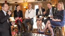 This panel of Canadian executives gathered to talk about their corporate social responsibility programs and how vital that is to attracting new talent. From left to right (sitting): Sandy McIntosh, Telus SVP Human Resources and Chief Human Resources Officer; Geoff Cape, CEO of Evergreen; Mary-Alice Vuicic – Loblaw and Co. Ltd., EVP Human Resources and Labour Relations; Bill Young, CEO of Social Capital Partners; Tova White, Coca-Cola Canada VP Human Resources. Hart Hillman, CEO of the Bigwin Group, holds the microphone. (Paul Alexander Photography)