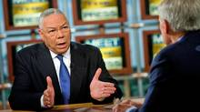 Former U.S. secretary of state Colin Powell speaks during a taping of Meet the Press at NBC studios in Washington on Sunday, Oct. 19, 2008. (Brendan Smialowski)