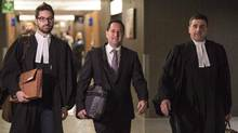 Final arguments are underway at the corruption trial of ex-Montreal mayor Michael Applebaum, centre. (Paul Chiasson/THE CANADIAN PRESS)