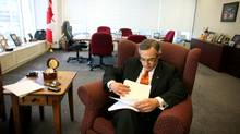 Tony Clement, President of the Treasury Board and Minister for the Federal Economic Development Initiative for Northern Ontario working in his deskless office in Ottawa. Photo by Dave Chan for The Globe and Mail. (Dave Chan For The Globe and Mail)