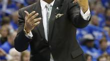FILE - In this May 5, 2013 file photo, Memphis Grizzlies head coach Lionel Hollins gestures during Game 1 of their Western Conference semi-finals NBA basketball playoff series against the Oklahoma City Thunder in Oklahoma City. (Sue Ogrocki/AP)