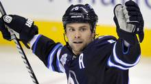 Winnipeg Jets' Mark Stuart celebrates his game winning goal against the New Jersey Devils during the third period of their NHL hockey game in Winnipeg, December 3, 2011. REUTERS/Fred Greenslade (FRED GREENSLADE)