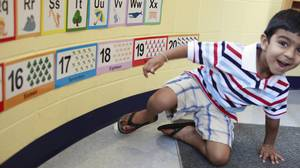 Prathmesh Mistry visits Homestead Public School Sept. 1 to meet his teachers and see the classroom where he will be attending junior kindergarten class this year.