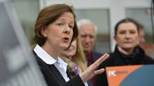 Alberta premier Alison Redford answers questions during a news conference during a campaign stop in Calgary, Alberta, April 4, 2012. (Todd Korol/ Reuters/Todd Korol/ Reuters)